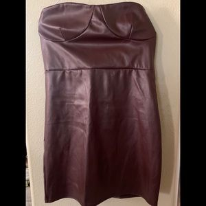 Pretty little thing wine faux leather bodycon NWTs